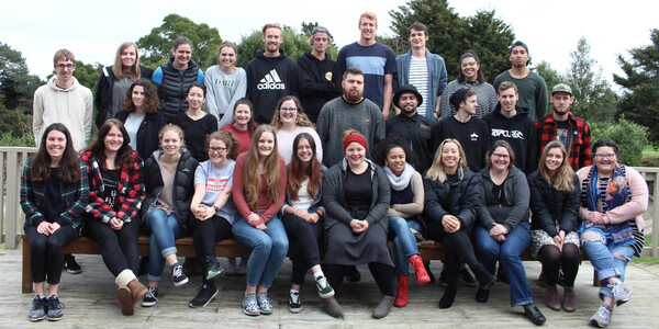 2017 Internship Students, group photo taken at Totara Springs